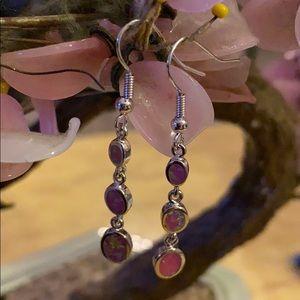 Vintage 925  inlay natural opal earrings